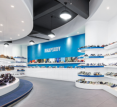 Rhapsody's casual shoes product showroom